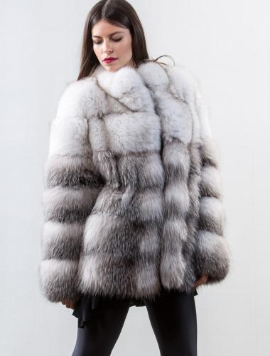 blue frost fox fur jacket - Real Fur Coats , Vests , Keychains ...