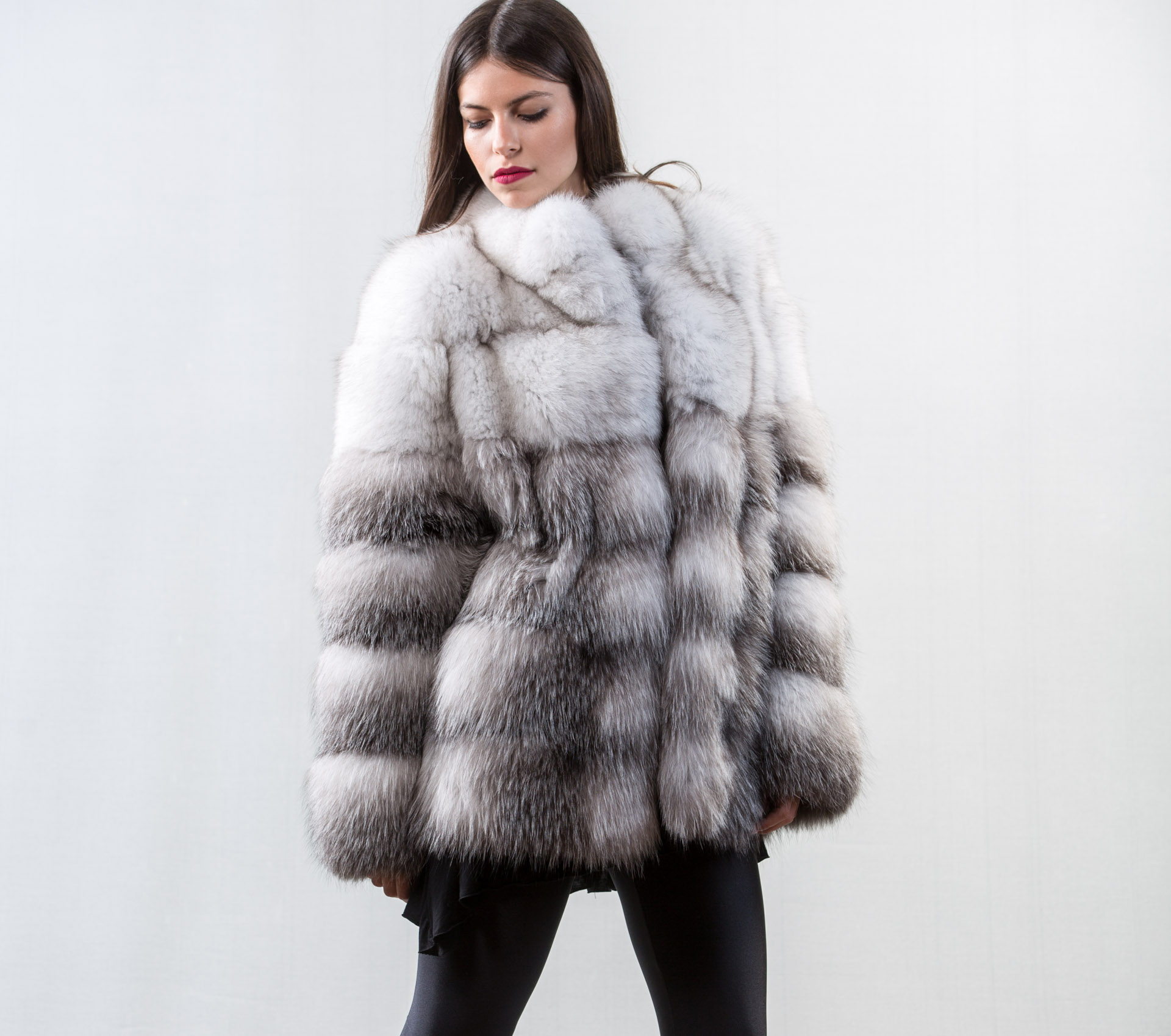 222613724c White and Blue Frost Fox Fur Jacket - Haute Acorn