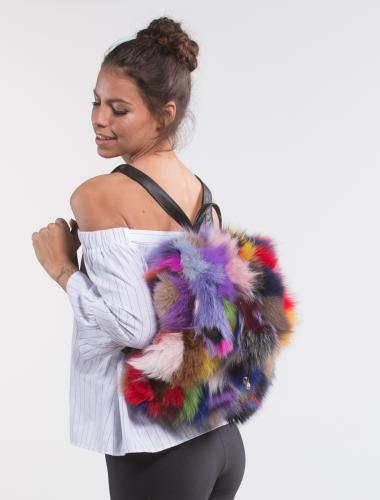 Colorful Fox Fur Backpack