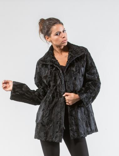 Black Astrakhan Fur Jacket With Wide Collar