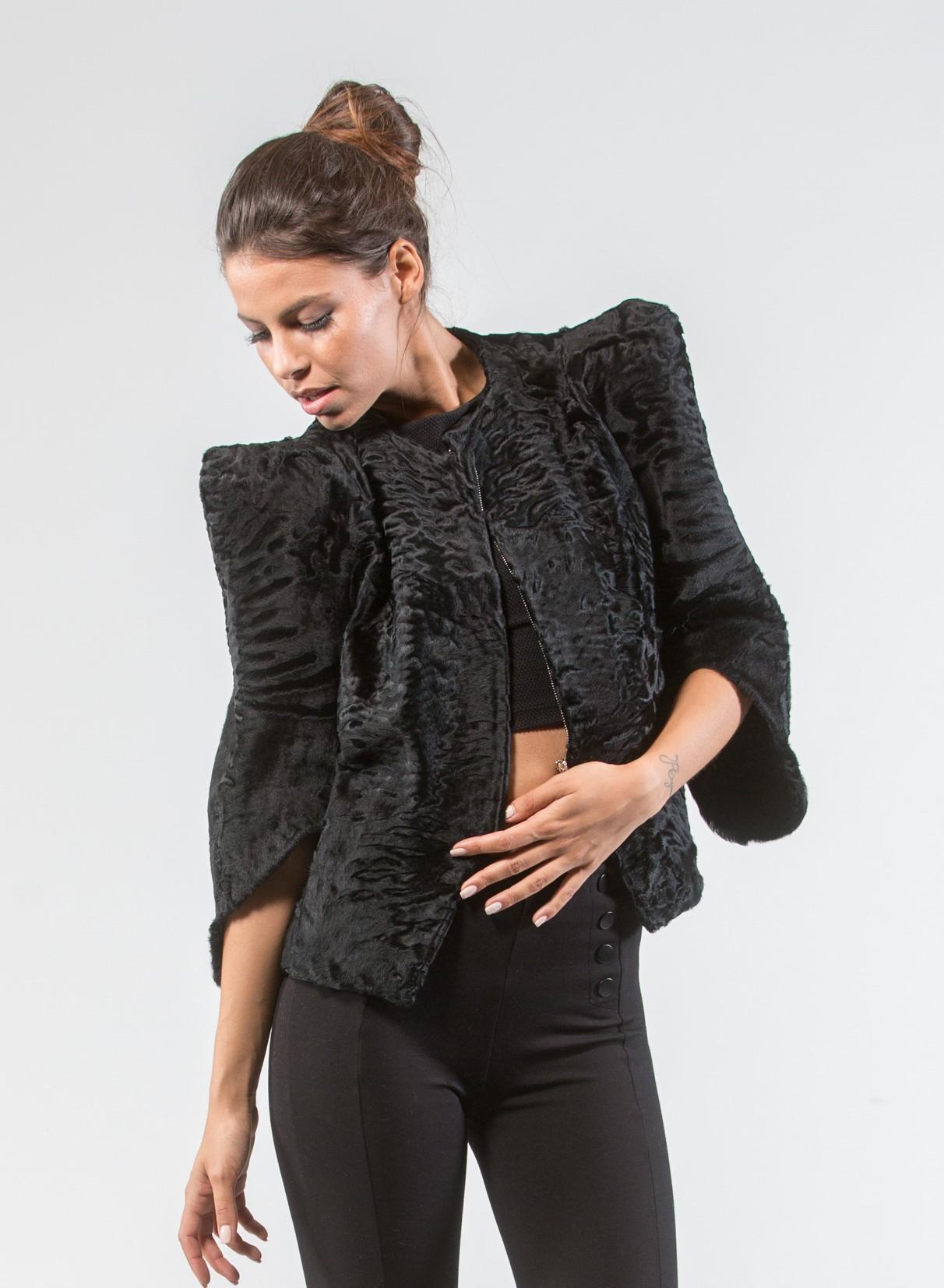 8d71227523b7 Black Swakara Short Fur Jacket Black Swakara Short Fur Jacket …