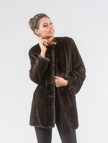 Dark Brown Mink Fur Jacket