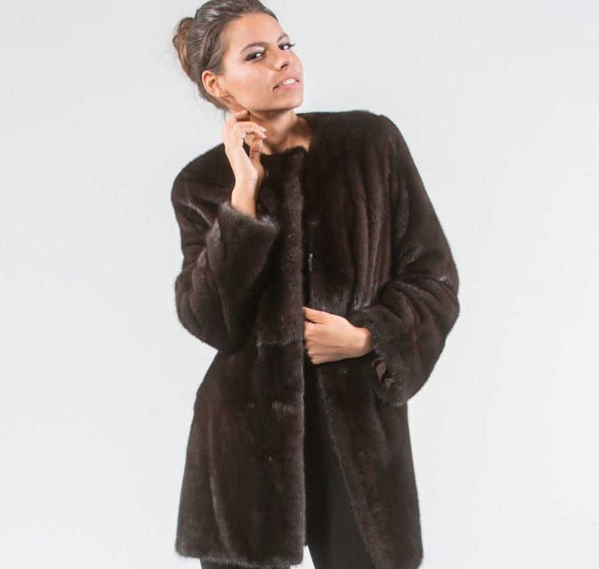 Dark Brown Mink Fur Jacket