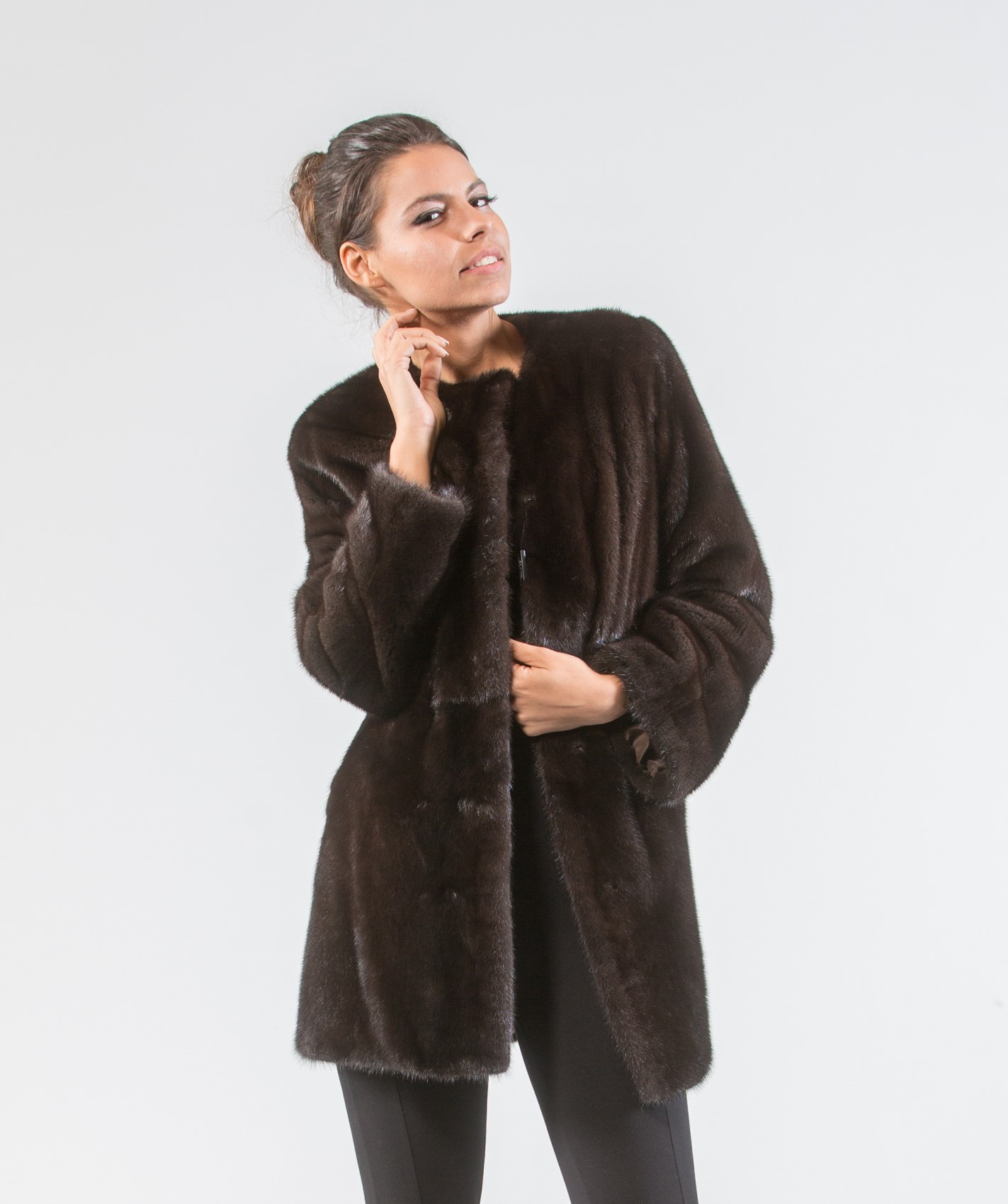 Dark Brown Mink Fur Jacket . 100% Real Fur Coats and Accessories.