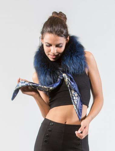 Electric Blue Fox Fur Collar