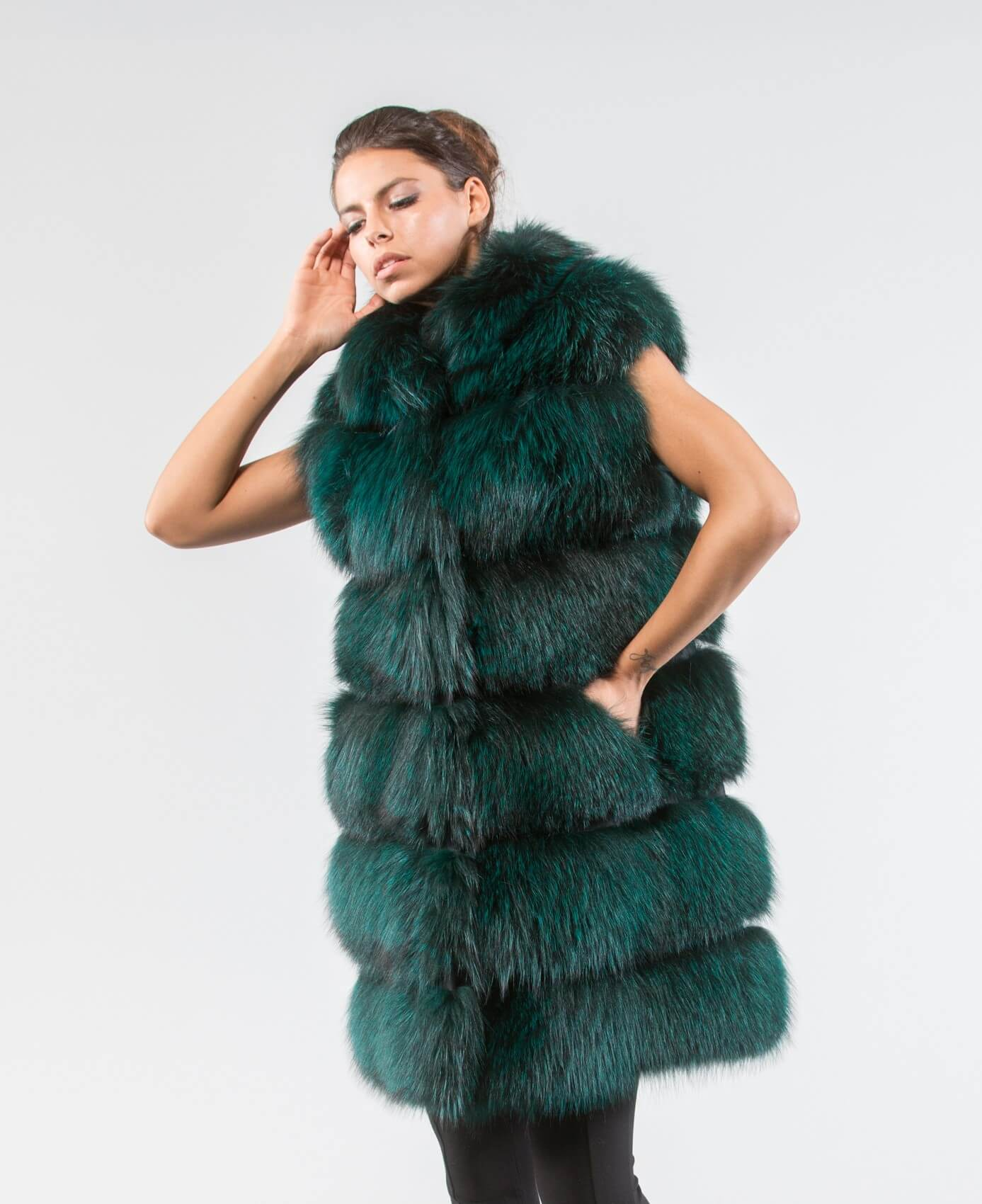 Forest Green Fox Fur Vest