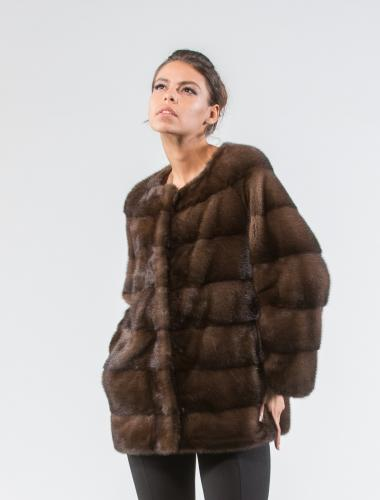 Mahogany Mink Fur Jacket Without Collar