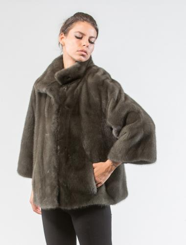 Olive Green Mink Fur Jacket