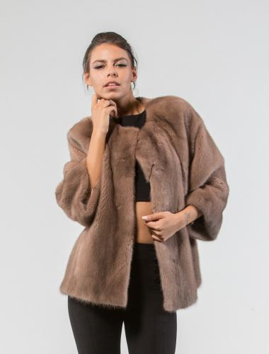 Pastel Mink Fur Short Jacket