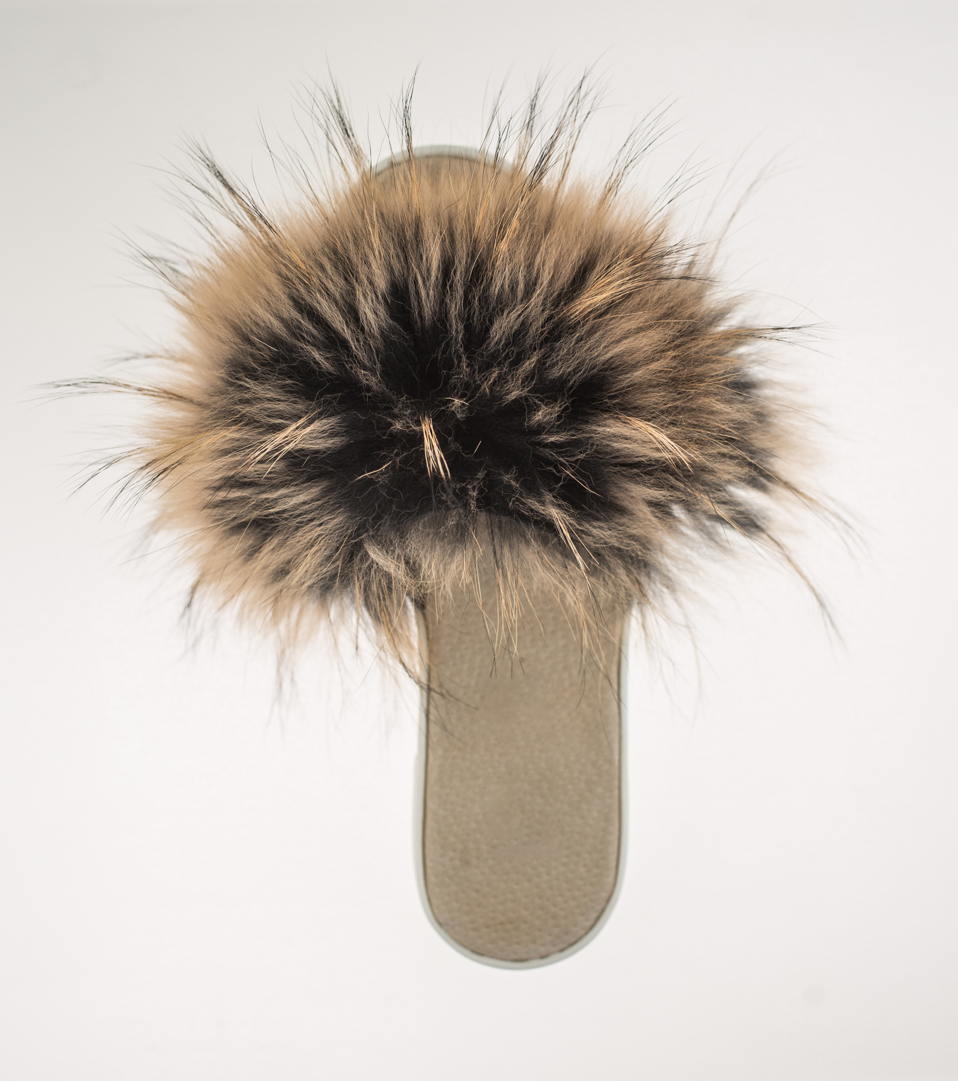 raccoon fur slides made of 100 real fur all sizes available
