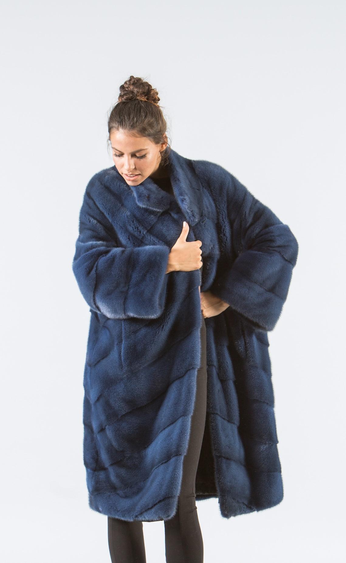 ed022eb38ef4 Sky Blue Mink Fur Coat - 100% Real Fur Coats - Haute Acorn