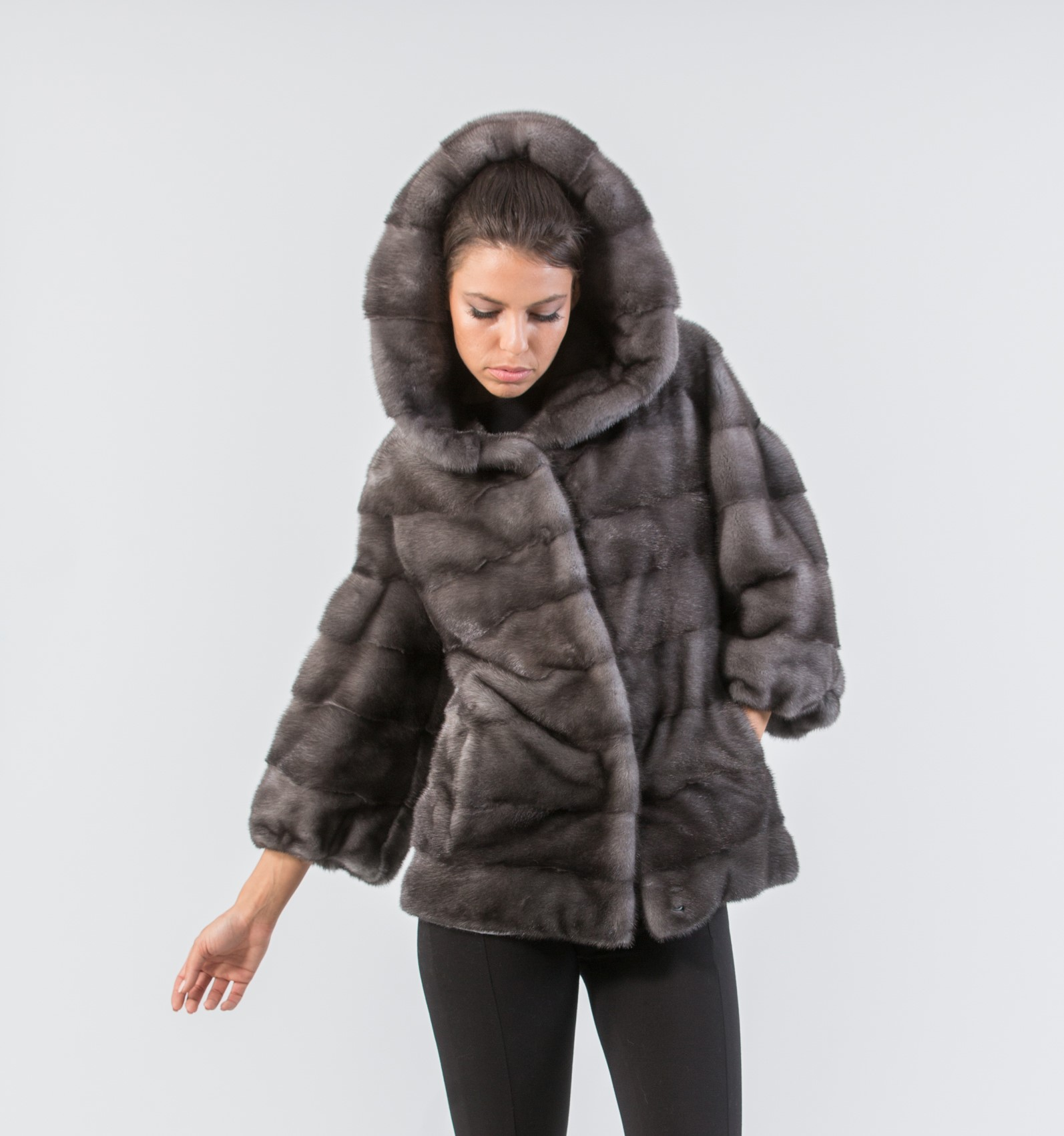 Blue Iris Mink Fur Jacket With Hood . Real Fur Coats and Accessories.
