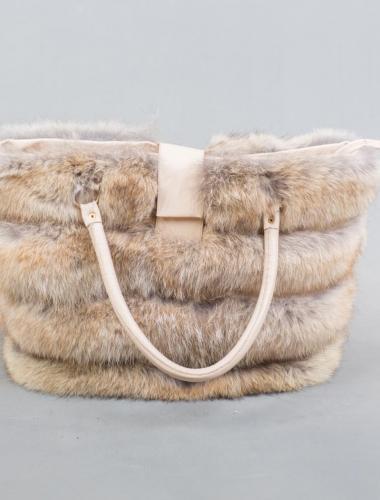 Beige Fox Fur Handbag