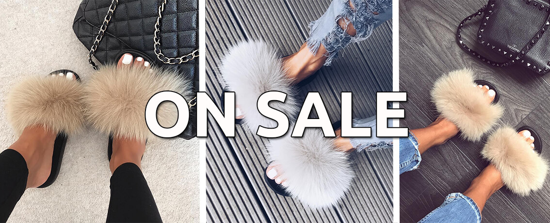 fur slides on sale