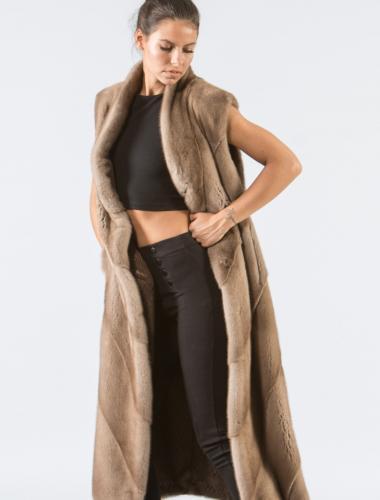 Pastel Mink Long Fur Vest