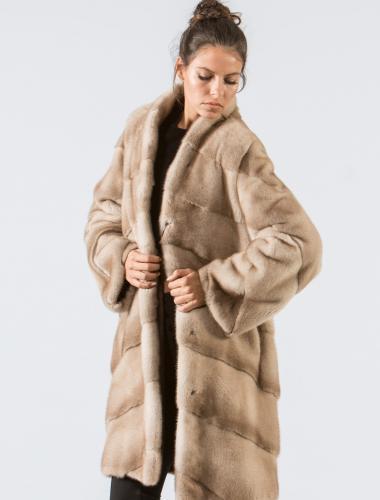 Pastel Mink Fur Jacket With Short Collar