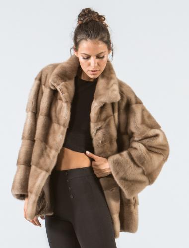 Wood Brown Mink Fur Jacket