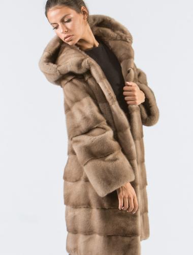 Pastel Mink Fur Jacket With Hood