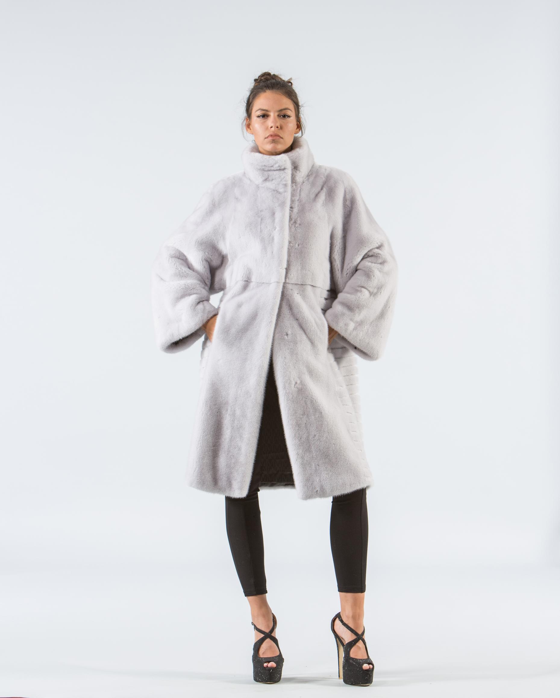 1a10e8f9f07b4 Silver Gray Mink Fur Coat - 100% Real Fur Coats - Haute Acorn
