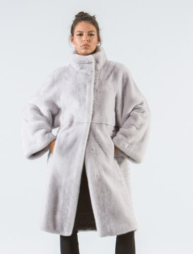 Silver Gray Mink Fur Coat