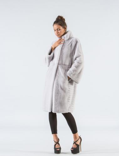 Silver Gray Mink Fur Coat