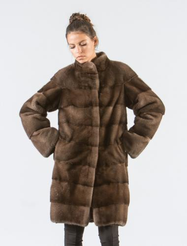 Coffee Brown Mink Fur Jacket