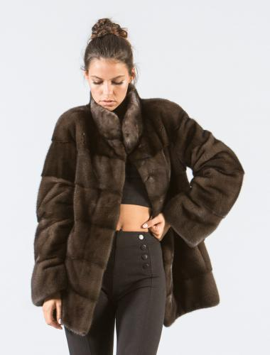 Chocolate Brown Mink Fur Jacket