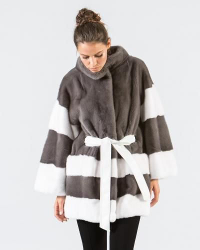 a5fd4826af7 Stone Gray and White Mink Fur Jacket ...