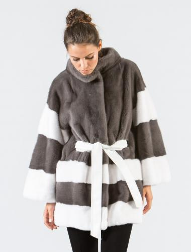 Stone Gray and White Mink Fur Jacket