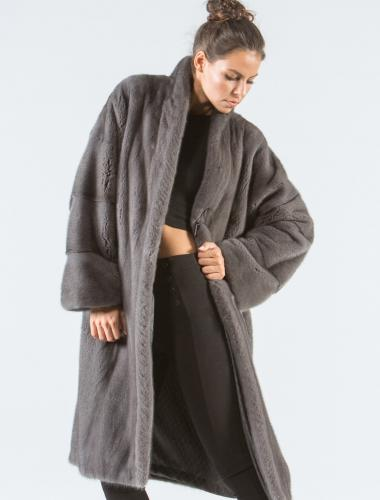 Stone Gray Mink Fur Coat
