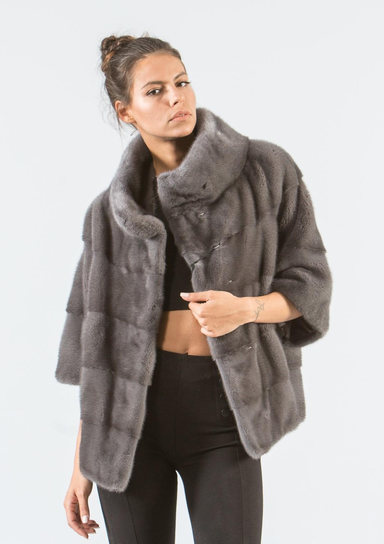 df80f7fb9a306 Gray Mink Short Fur Jacket -100% Real Fur Coats - Haute Acorn.