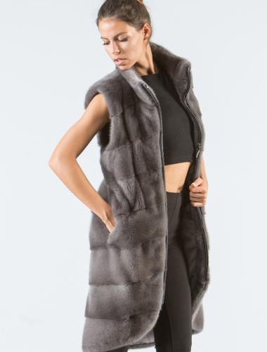 Gray Mink Fur Vest