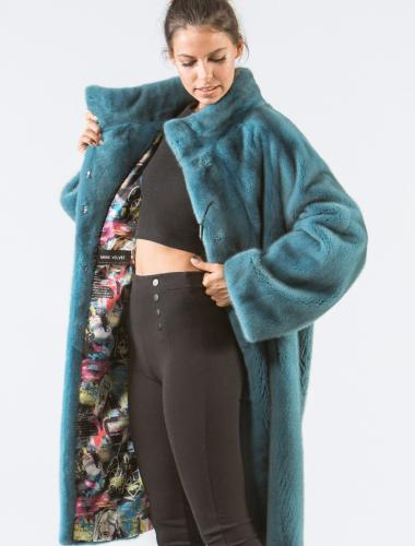 Turquoise Mink Fur Coat