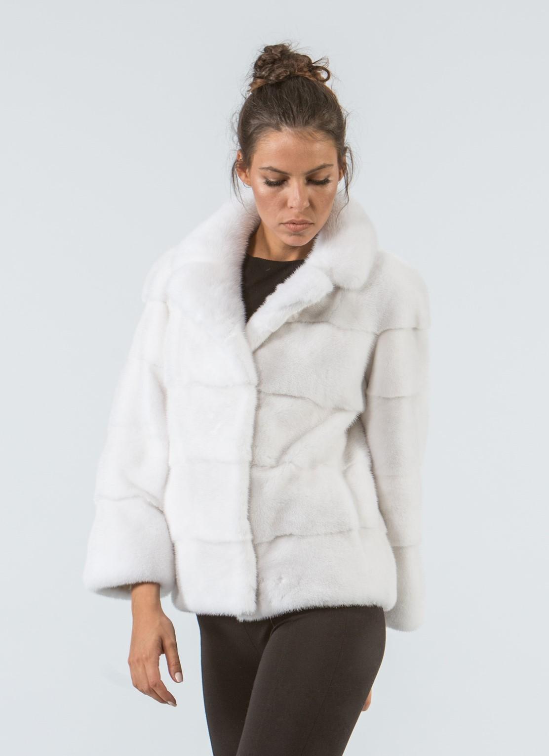 White Mink Short Fur Jacket - 100% Real Fur Coats - Haute ...