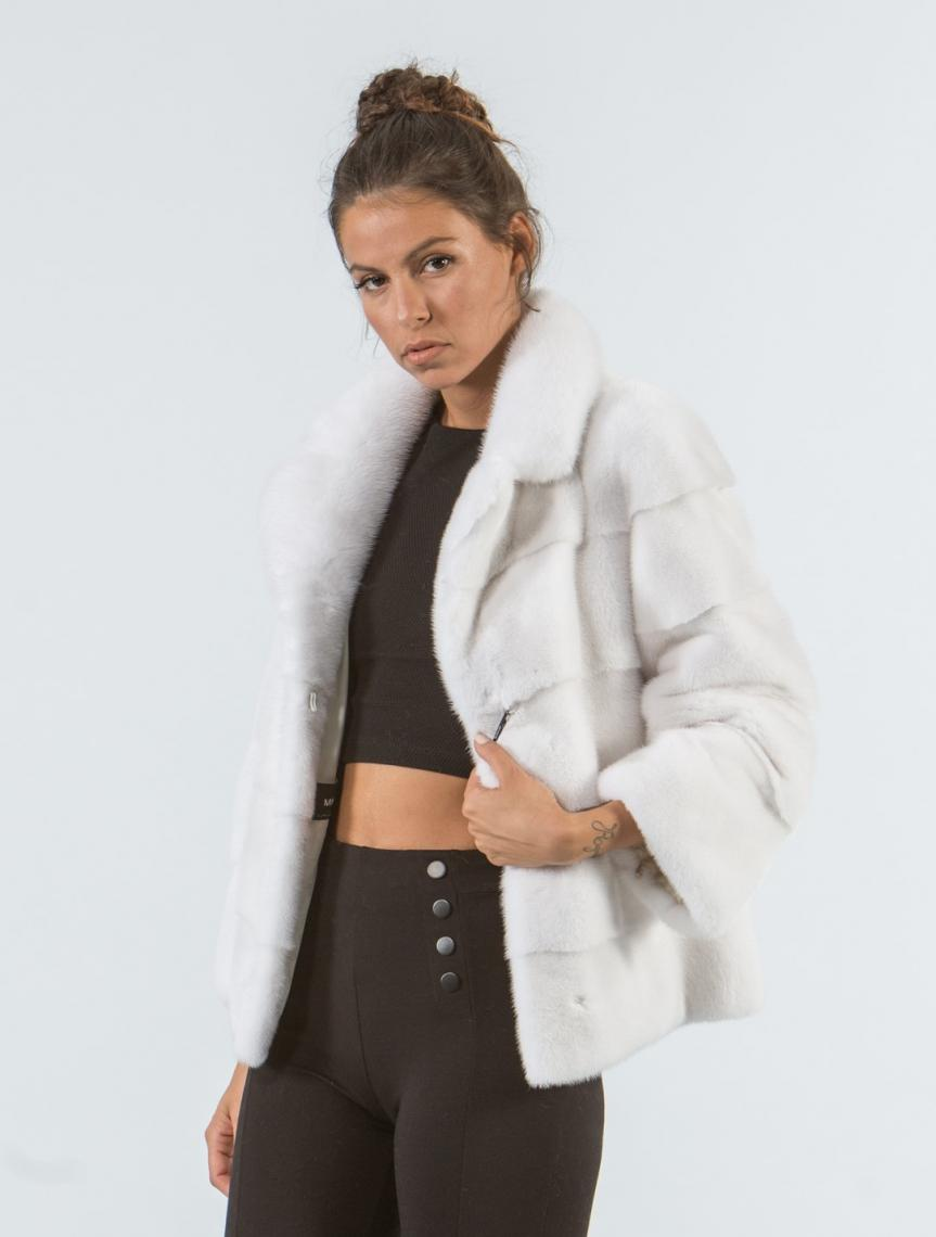 db31830b84cd1 White Mink Short Fur Jacket - 100% Real Fur Coats - Haute .