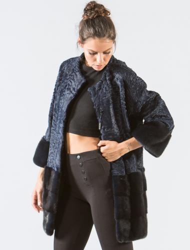 Blue Black Astrakhan Fur Jacket