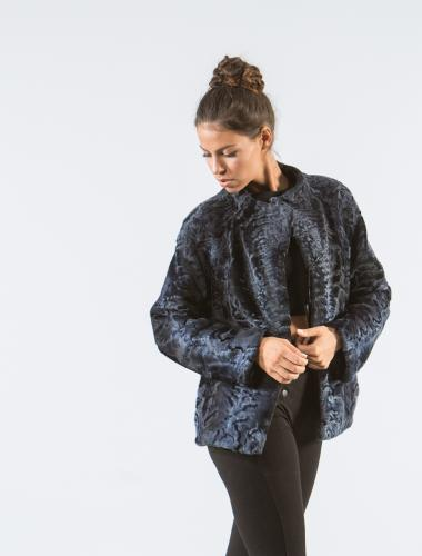 Dark Blue Astrakhan Fur Jacket