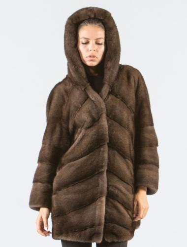 Coffee Brown Mink Fur Jacket With Hood