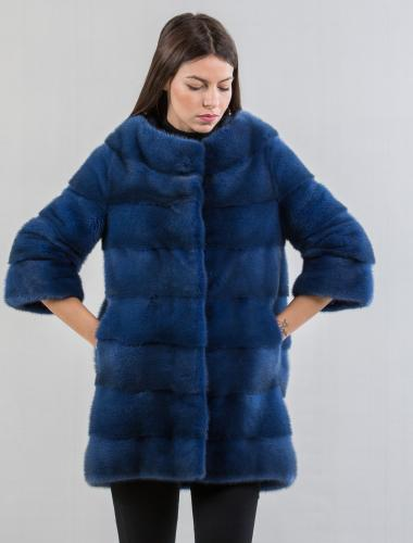 Royal Blue Mink Fur Jacket