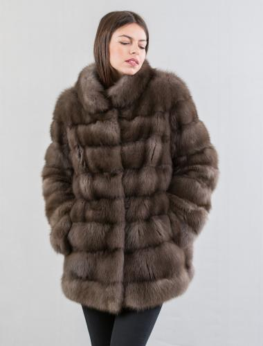 Sable Fur Jacket With Short Collar