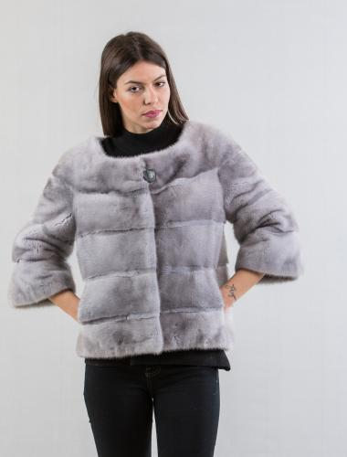 Stone Gray Mink Fur Short Jacket