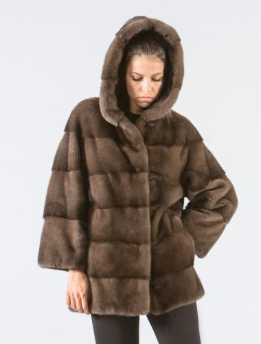 Brown Mink Fur Jacket With Hood