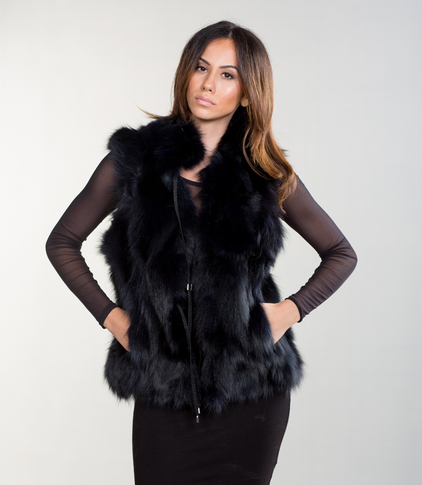 Faux black fur Gillet - Worn a couple of times but been in storage Size small.