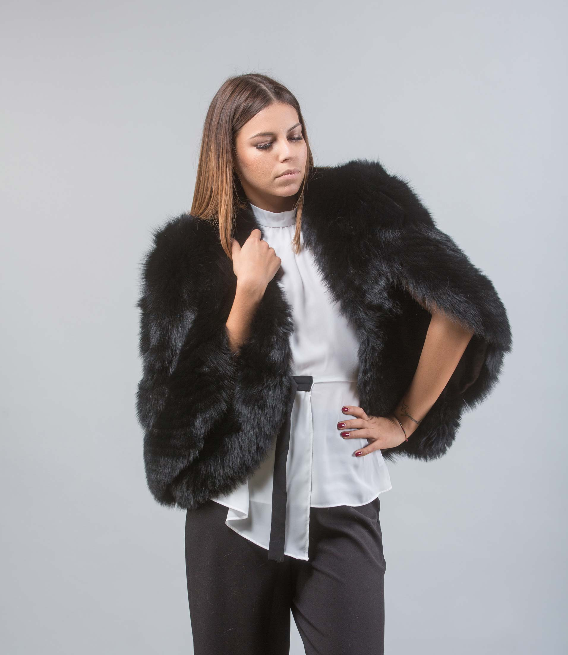 b343da9df85 Black Fox Fur Cape. 100% Real Fur Coats- Haute Acorn