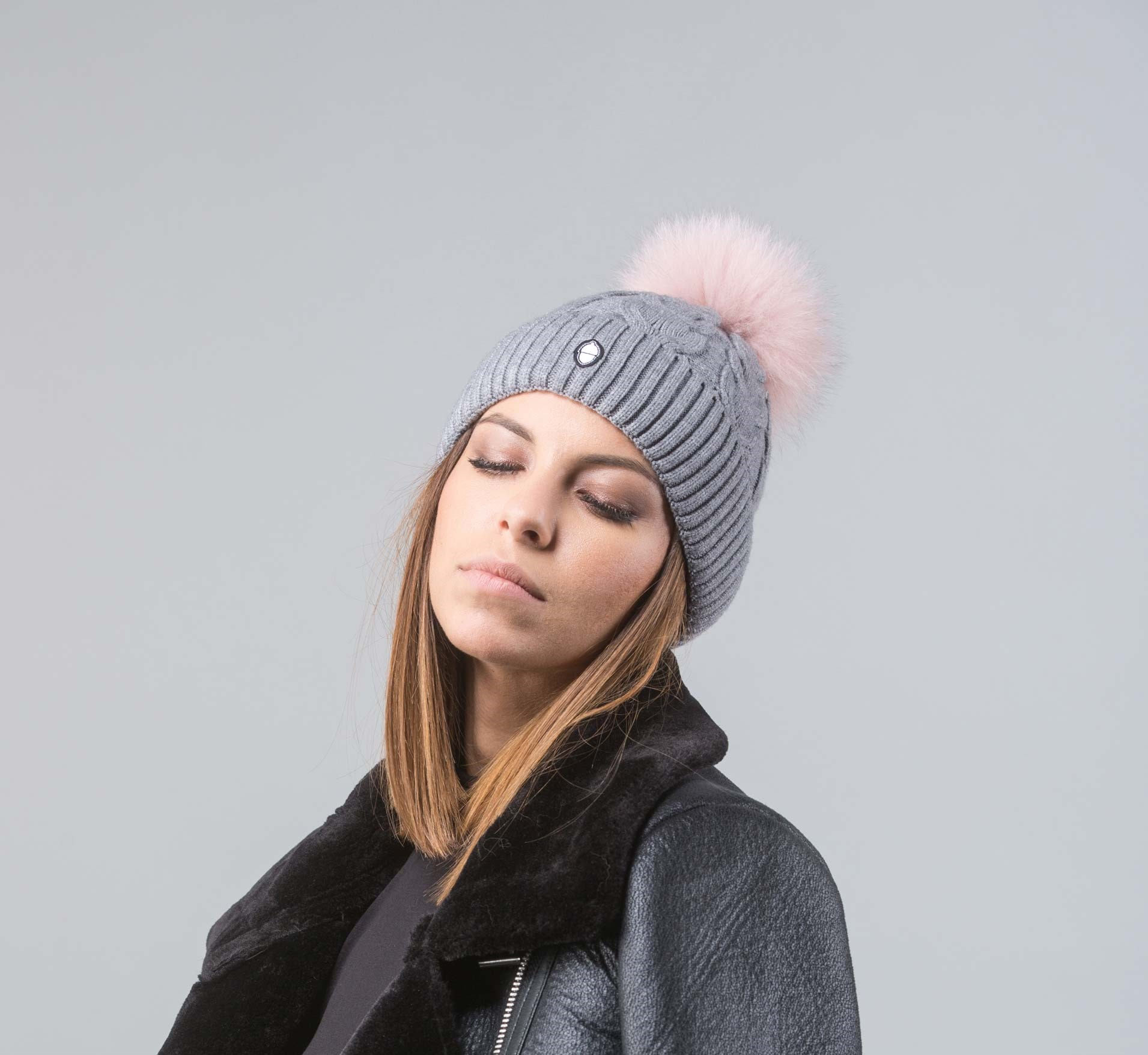 33a545d8cd7 Gray Beanie With Pink Pom Pom I 100% Real Fur Hats I Haute Acorn