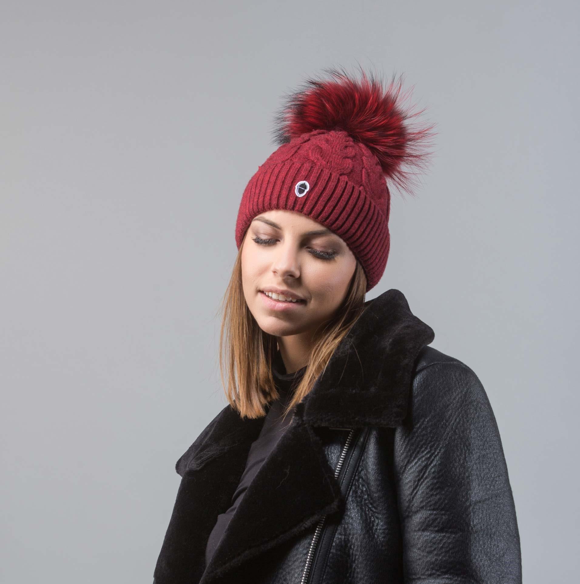 1d017ec4b46 Bordeaux Beanie With Raccoon Fur Pom Pom I 100% Real Fur Hats