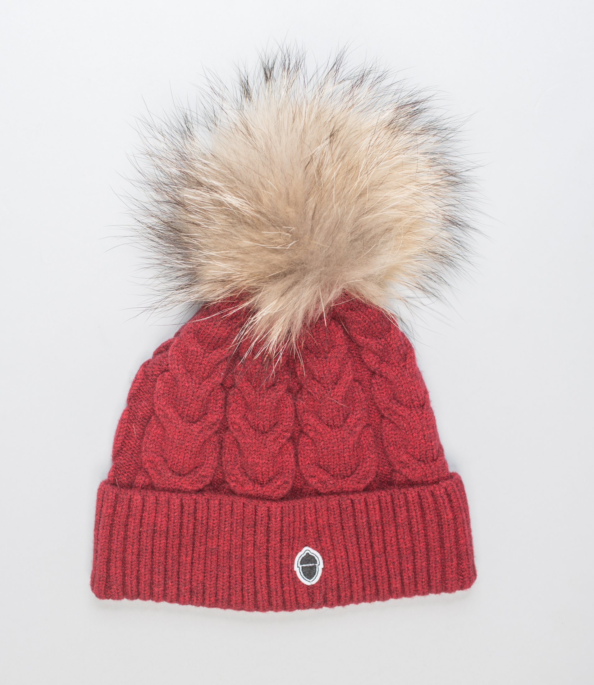 Bordeaux Beanie With Natural Fur Pom Pom I 100% Real Fur Hats 6d7aee81c7c