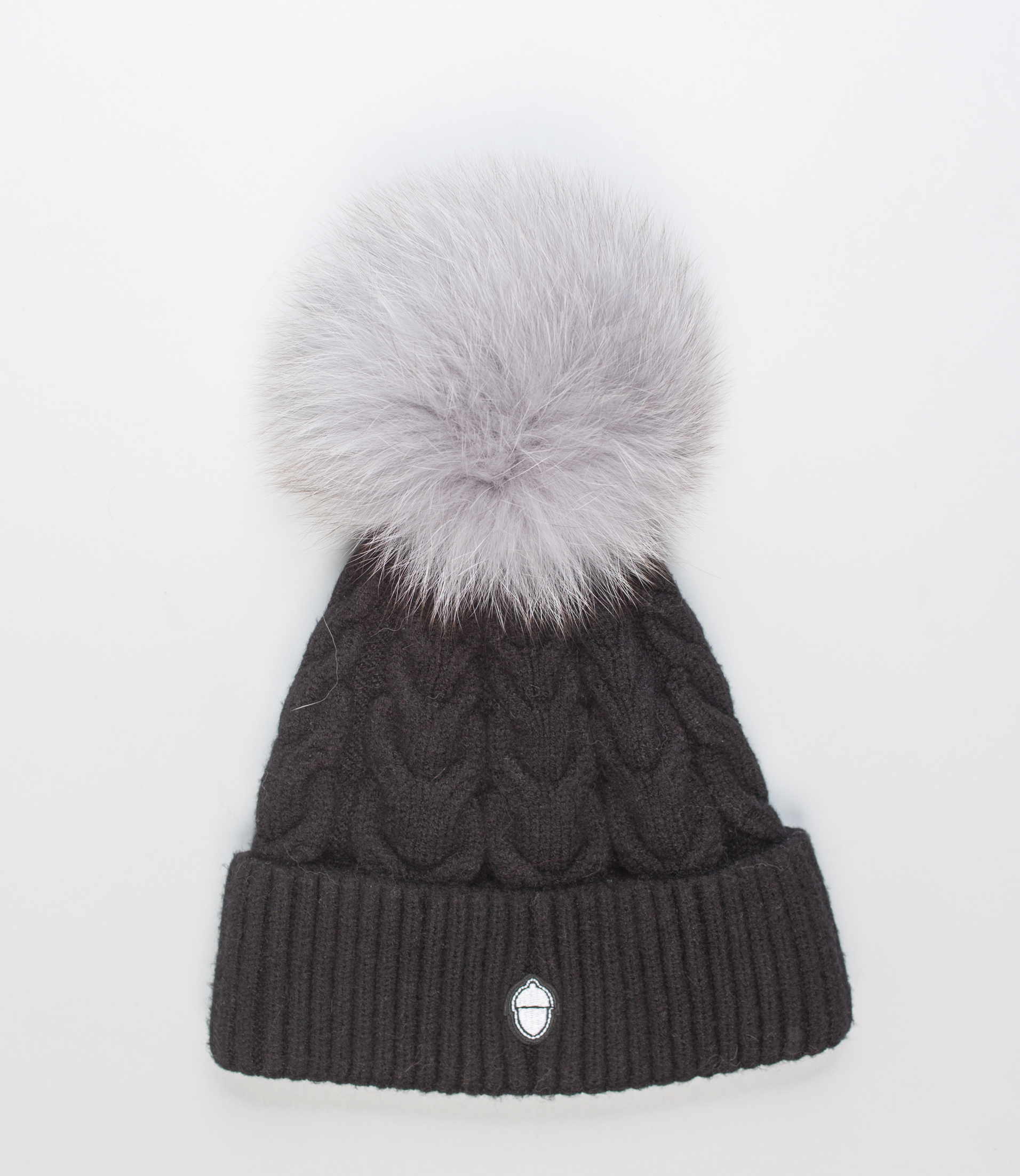Black Beanie With Grey Pom Pom! 100% Real Fur Hats- Haute Acorn 95197b93513