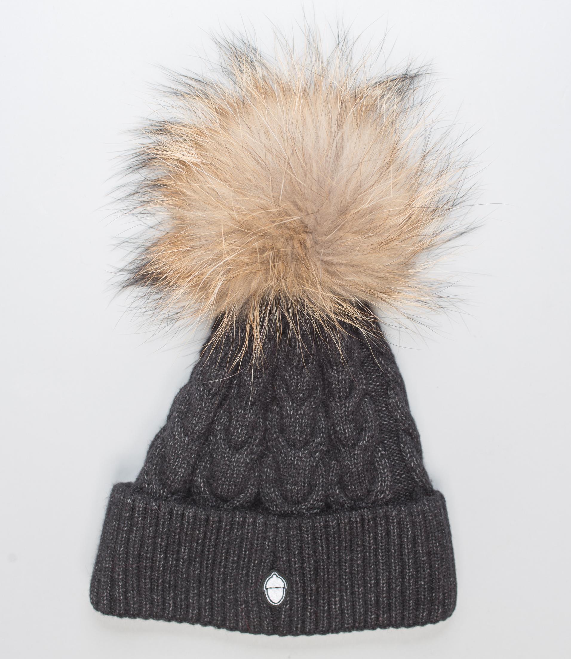 Black Beanie With Natural Fur Pom Pom I Made of Real Fur I Haute Acorn 5cf318045f2