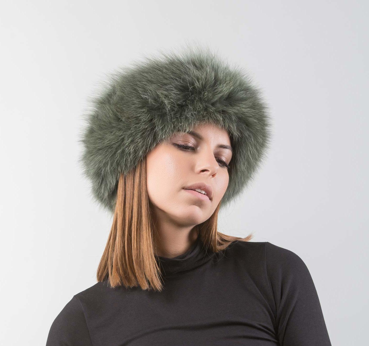Green Fox Fur Headband. 100% Real Fur and Accessories- Haute Acorn 35080730815